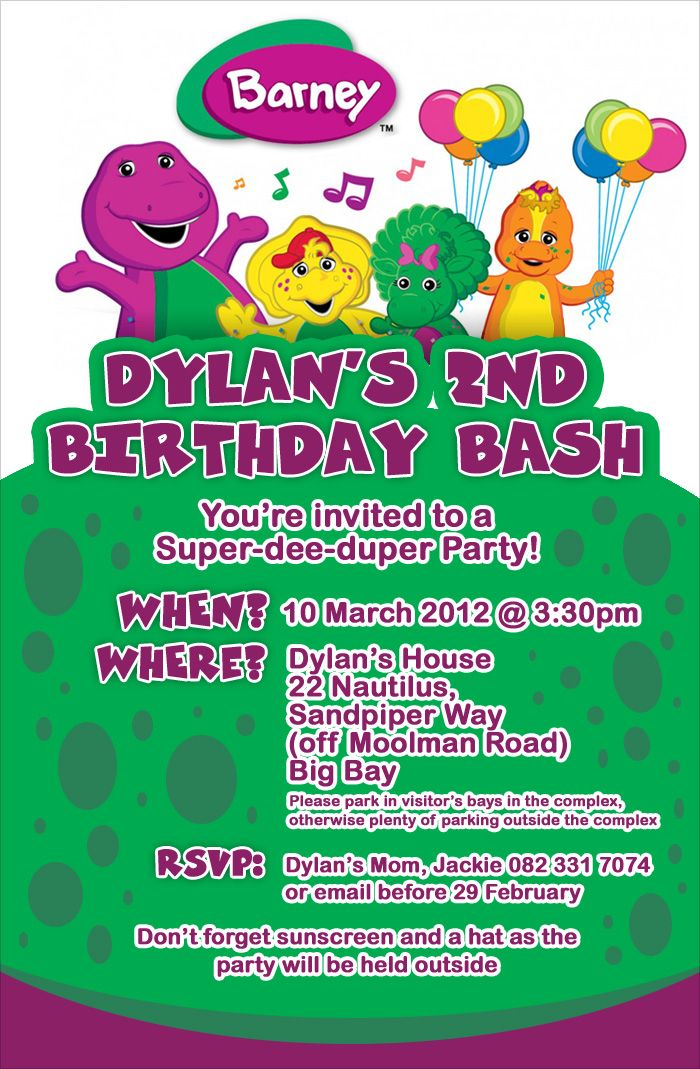 Barney birthday party invitation - Order and get personalised from ...