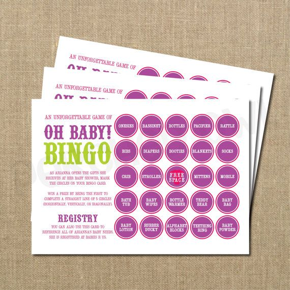 Items similar to Oh Baby Bingo Card Game - 10 Cards ...