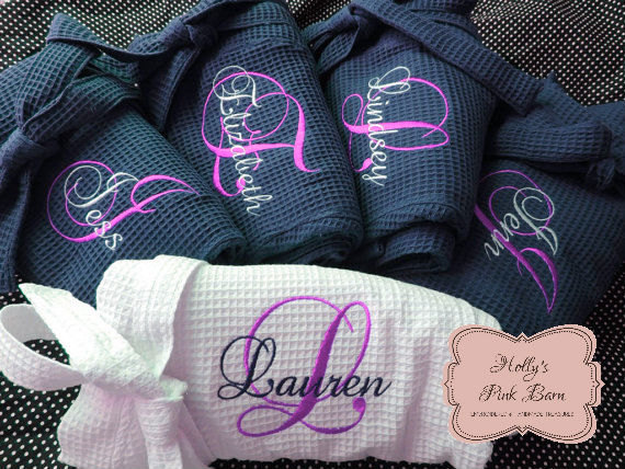 FAST Free Shipping Set of 5 Robes 4 Navy Bridesmaids & 1White  Bridal Personalized Embroidered Waffle Kimono Short Robe Bridal Party Gifts