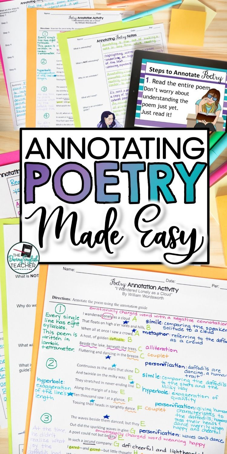 Poetryteachingresource Teachingpoetry Secondaryela Poetryunit Annotating Everything Student Inclu Poetry Middle School Lesson Teaching I Wandered Lonely A Cloud Poem Analysis Analysi