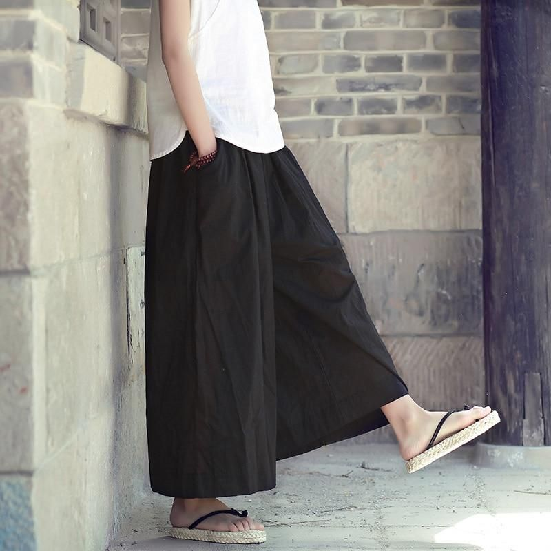 45aa90bd2644 Elastic Waist Solid Cotton Women Wide leg Pants Skirt Black White Red Plus  size Loose Casual