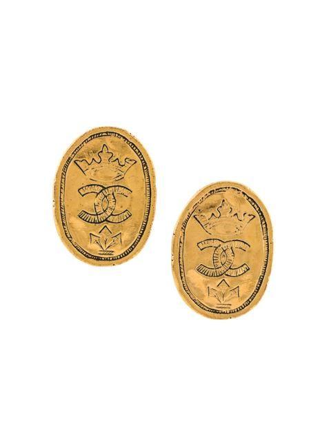 Chanel Vintage crown clip on earrings