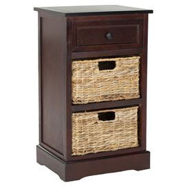 Distressed Cherry Pine Wood Accent Table With Two Wicker Drawers Product End Tableconstruction Material