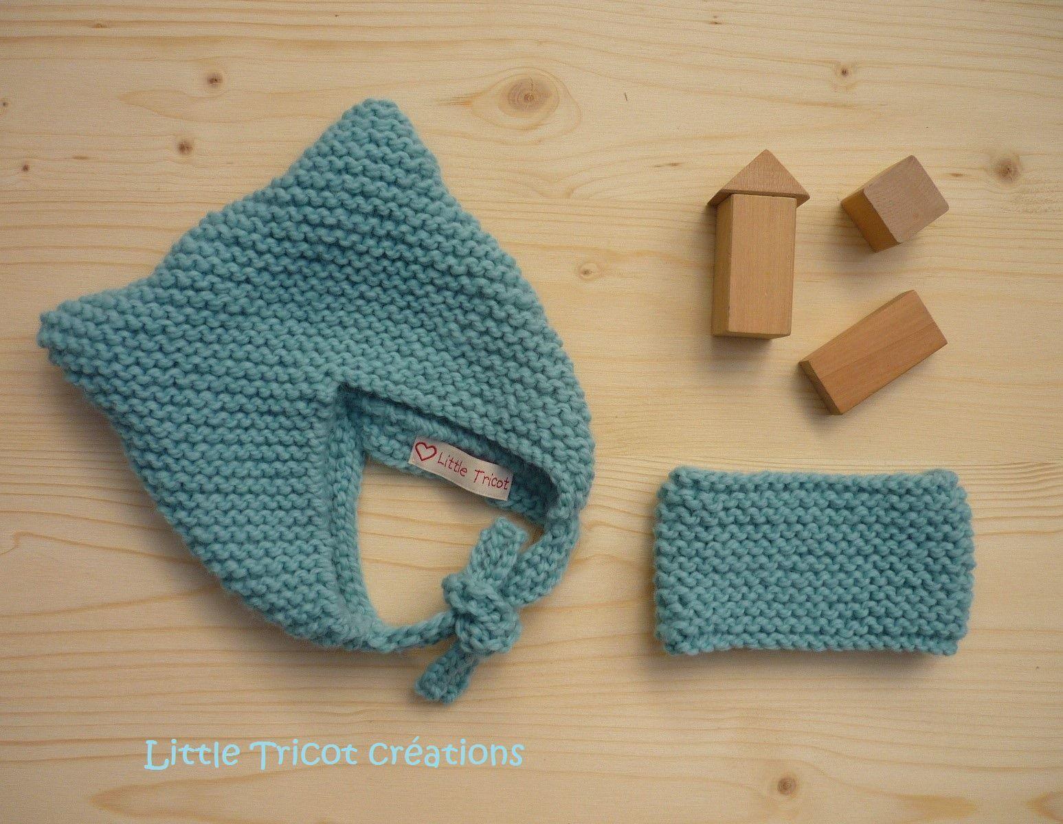 Bonnet/snood bébé (6/9 Mois) bleu glaçon//Fait,main//bonnet en laine//bonnet  chat//Bonnet bébé tricoté//bonnet point mousse
