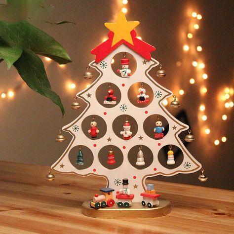 e73ca7b47df Navidad DIY Regalo del ornamento del árbol de navidad de madera para los  niños Decoración de la tabla del hogar Fuentes del partido