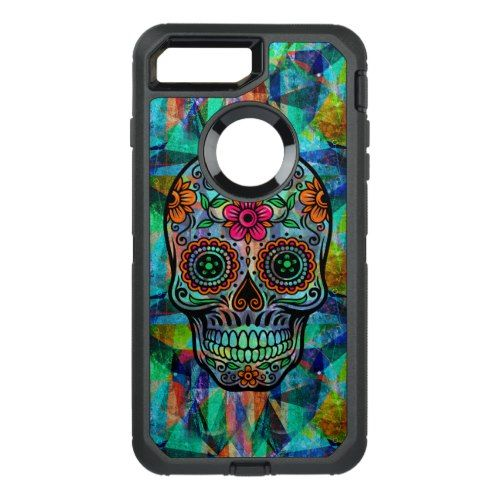 Colorful Geometric Background Floral Sugar Skull OtterBox