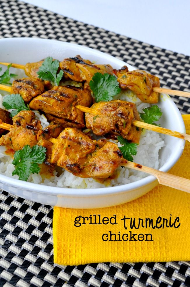 Get this quick and easy recipe for succulent little bites of grilled turmeric chicken kabobs. A delicious way to include more turmeric in your diet.