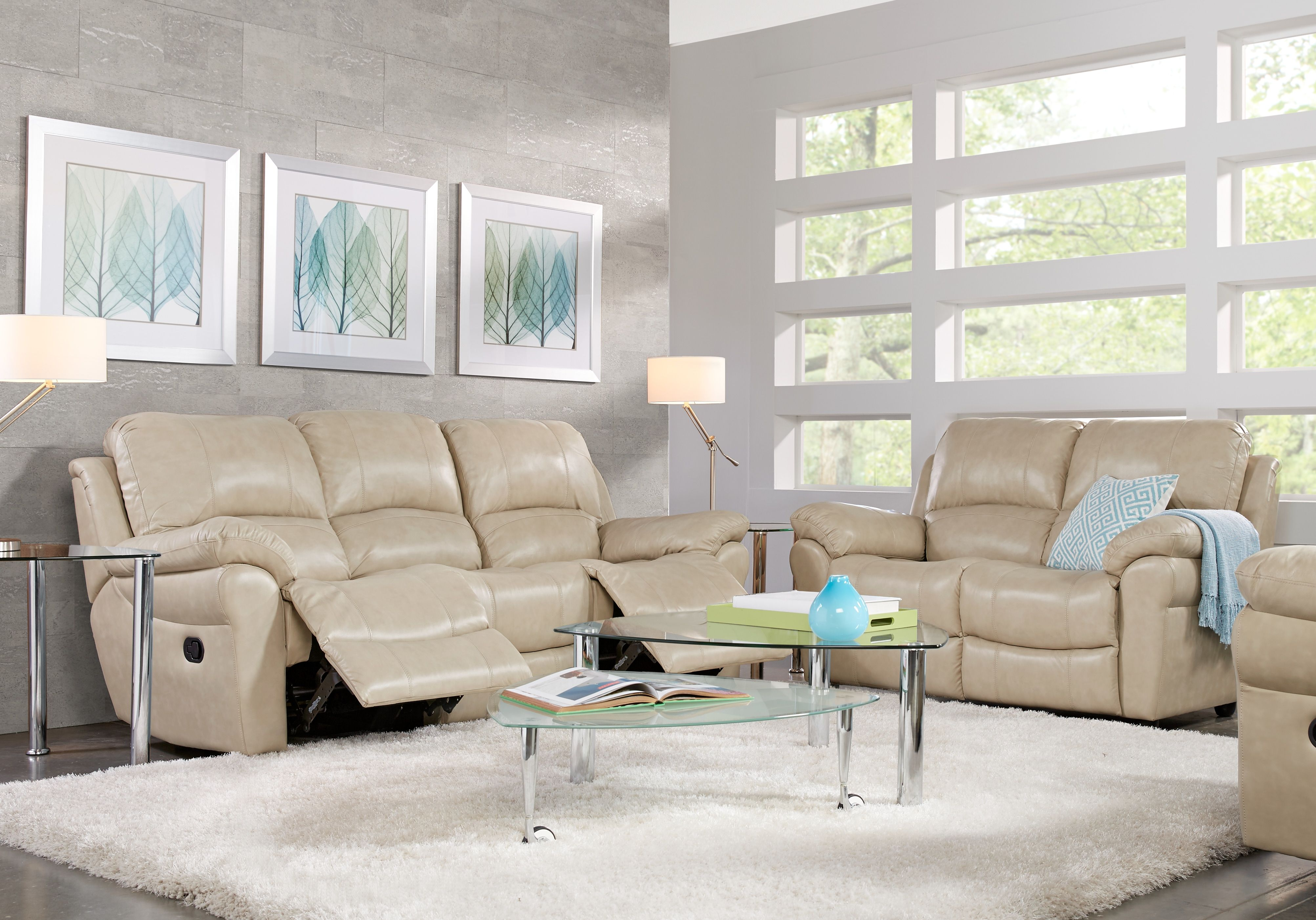 Vercelli Stone Leather 3 Pc Living Room With Reclining Sofa Living Room Leather Brown Couch Living Room Quality Living Room Furniture