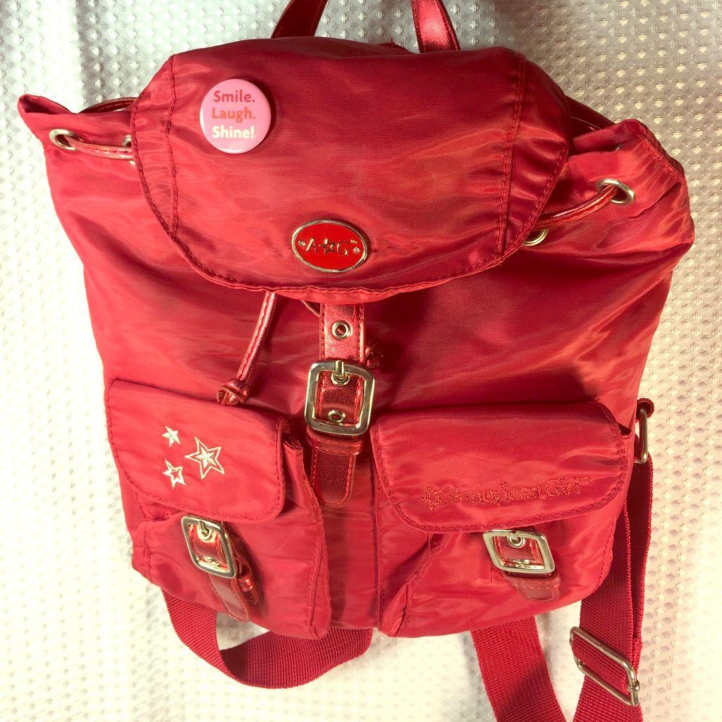 "American Girl"""" Red Back Pack-- Super Cute!"