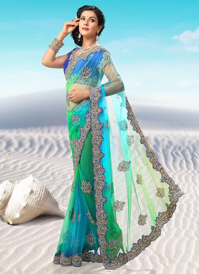 Intriguing Multicolor Net Saree   Wedding Outfits   Pinterest   Net ...