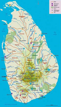 Elevation map of Sri Lanka with administrative divisions. | All ...