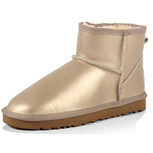 GTIME Winter Snow Boots Plus Warm Cotton Boots With Flat Sneaker Shoes Gold US 6 -- See this great product.