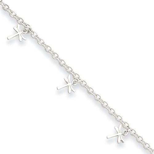 Anklet Sterling Silver Polished Dragonfly with 1in ext