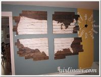 Clock with number words. Pallet map wall art.