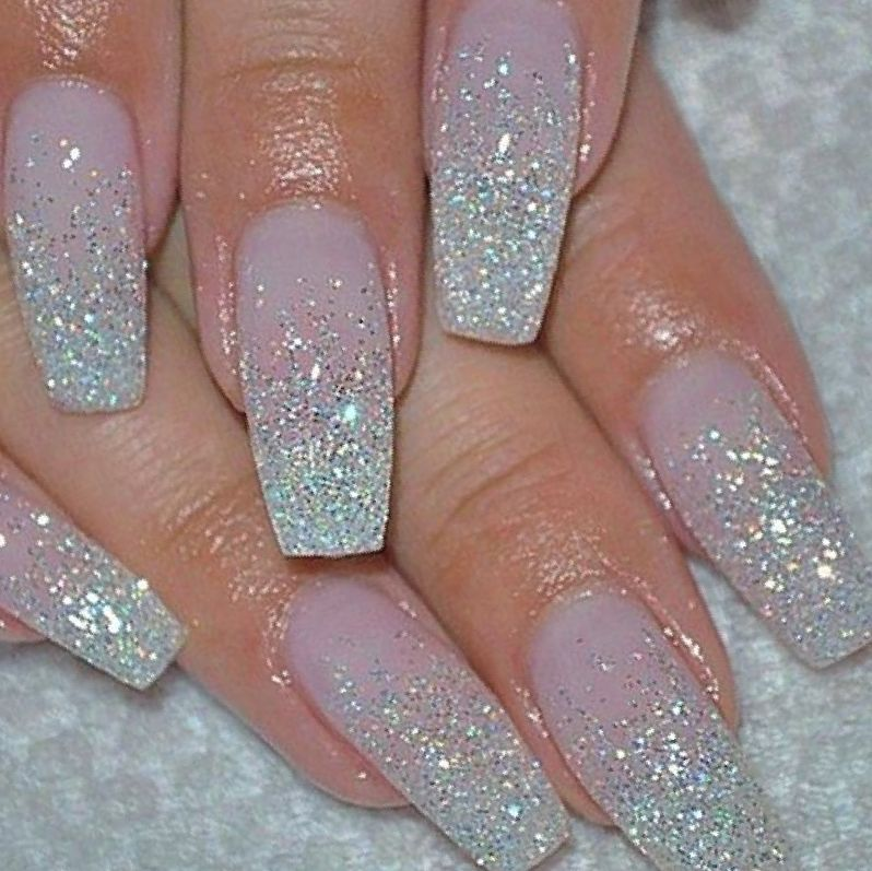 Image Result For Pink And Glitter Nails Wedding Nails Glitter Nail Designs Glitter Holiday Nails Glitter