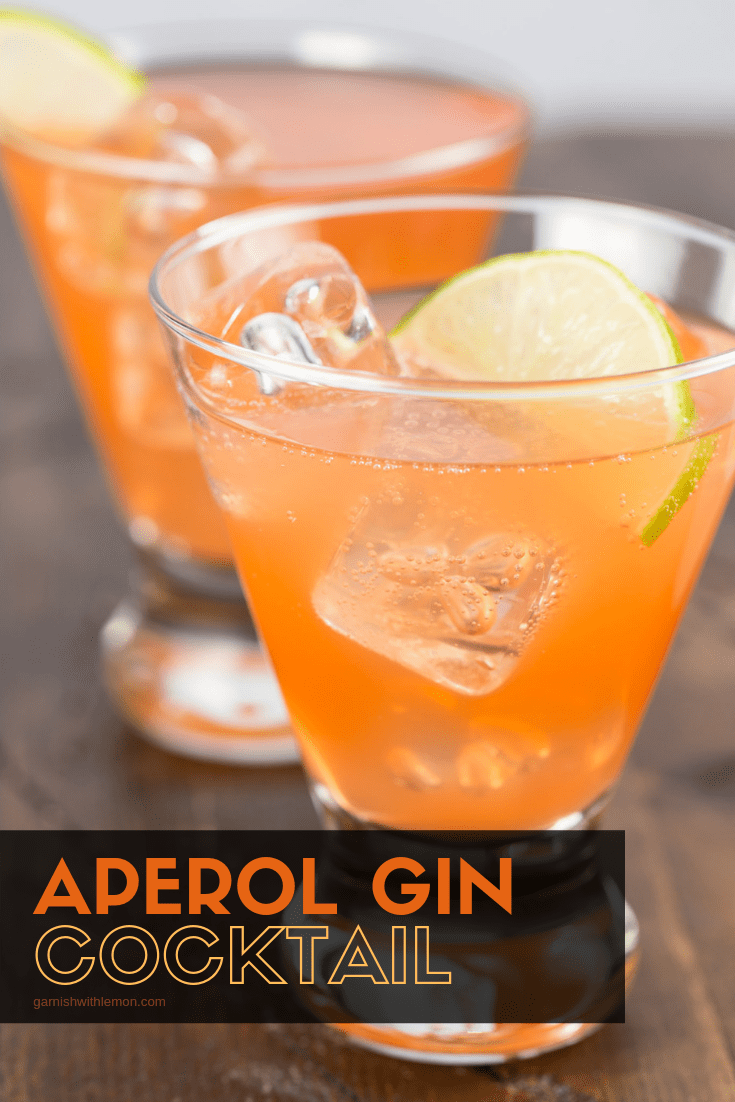 Photo of Aperol Gin Cocktail Recipe- Garnish with Lemon