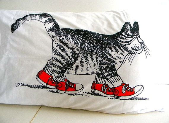 vintage kliban cat with red shoes pillow case I had this