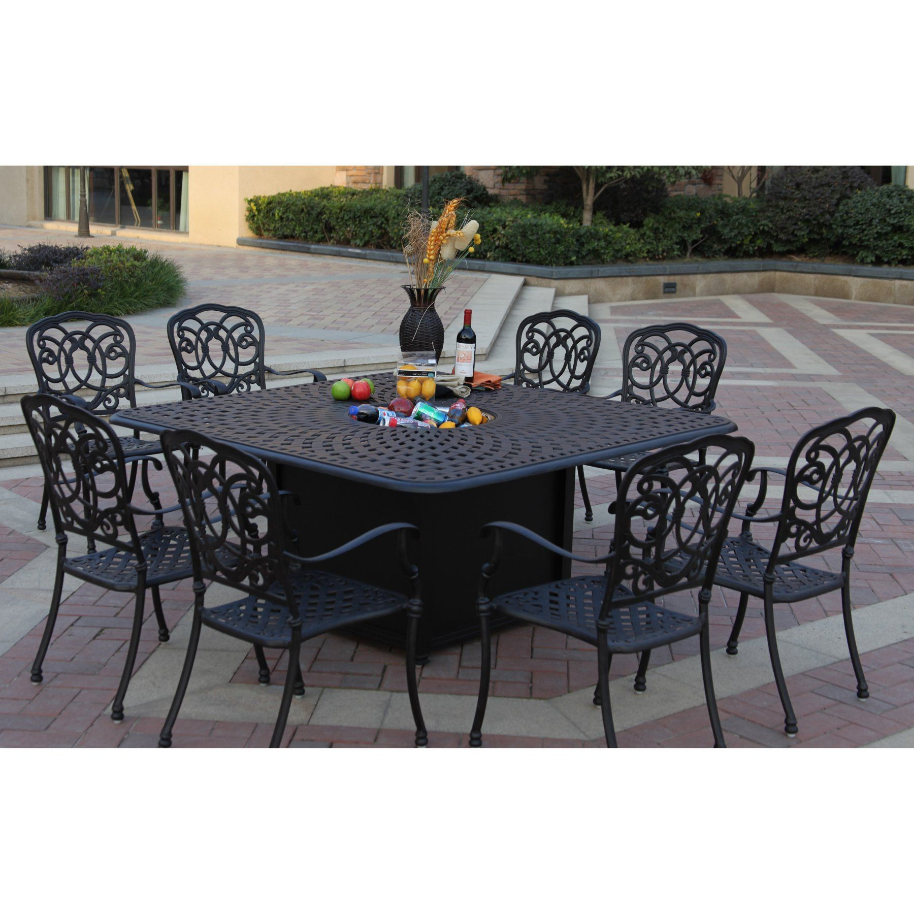 Outdoor Darlee Florence 9 Piece Aluminum Square Fire Pit ...