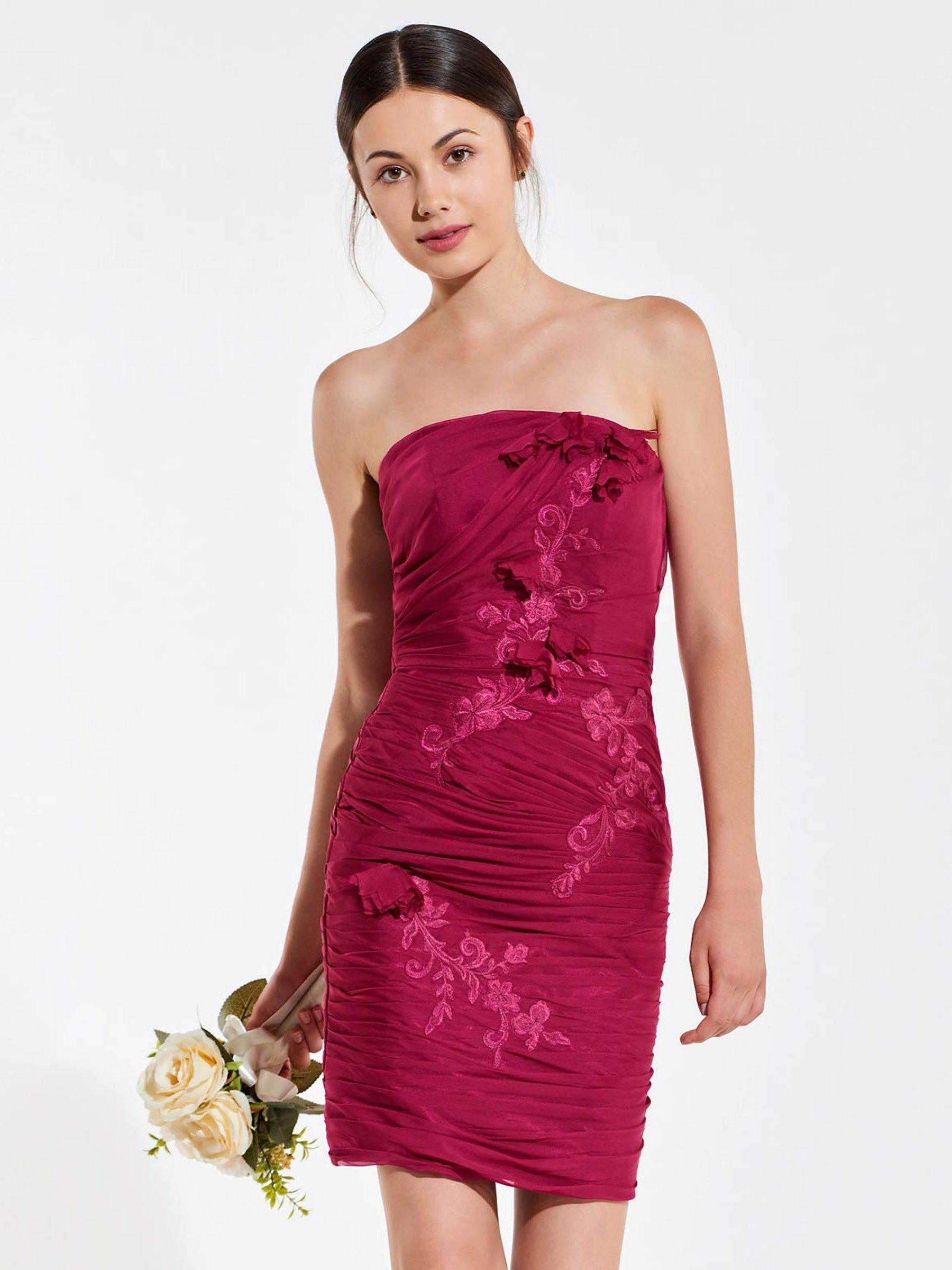 Strapless appliques pleats column bridesmaid dress wedding lovin