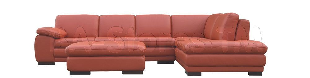 625 Italian Leather Sectional Sofa in Pumpkin by J&M | Sectional ...