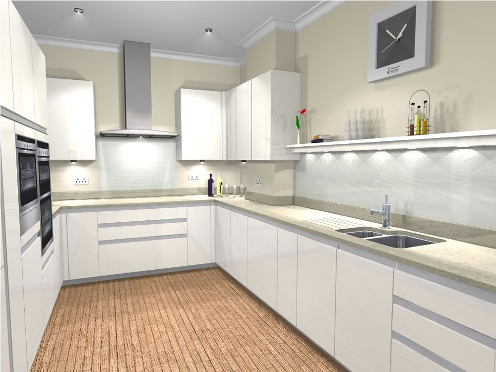 U Shaped Kitchen Designs White High Gloss