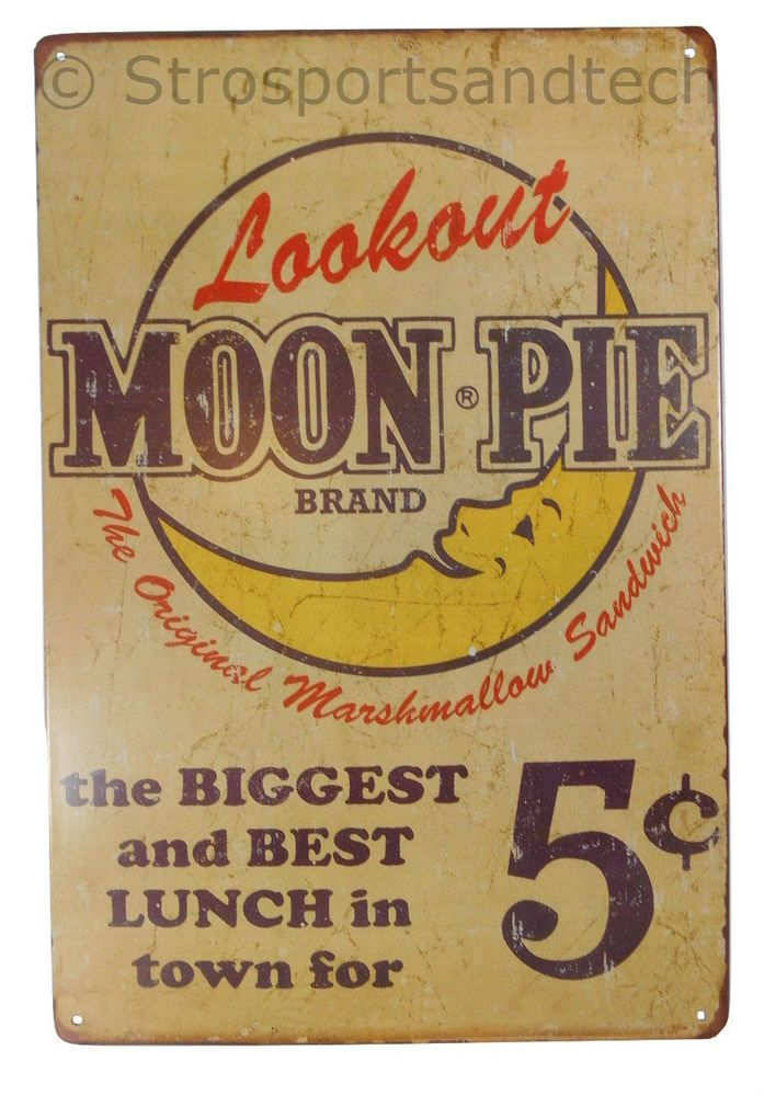 Moon Pie Tin Sign Diner Cafe Garage Wall Decor Retro Metal Bar Art ...