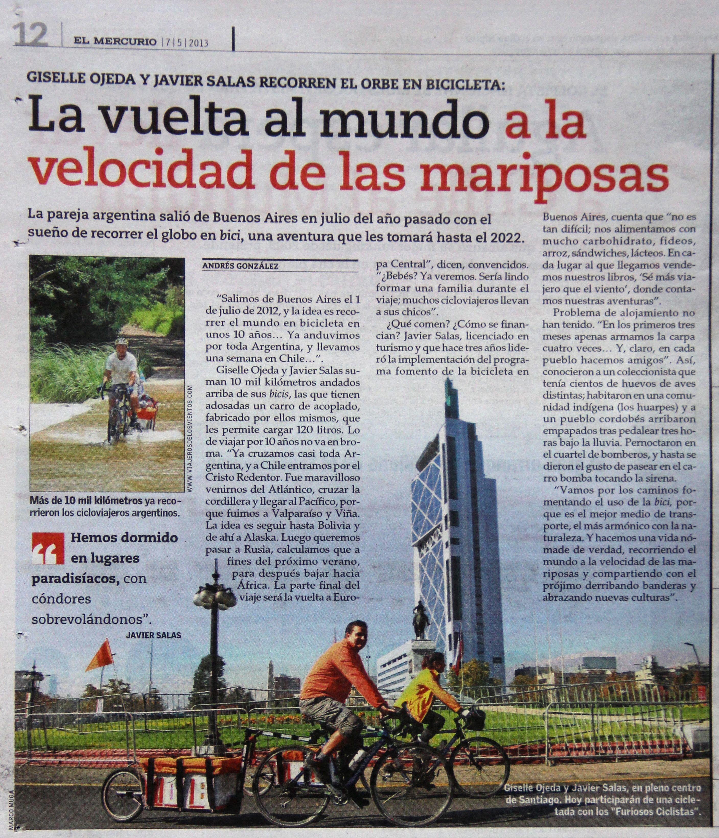 """Diario """"El Mercurio"""" de Santiago de Chile  La vuelta al mundo en bici  www.viajerosdelosvientos.com"""