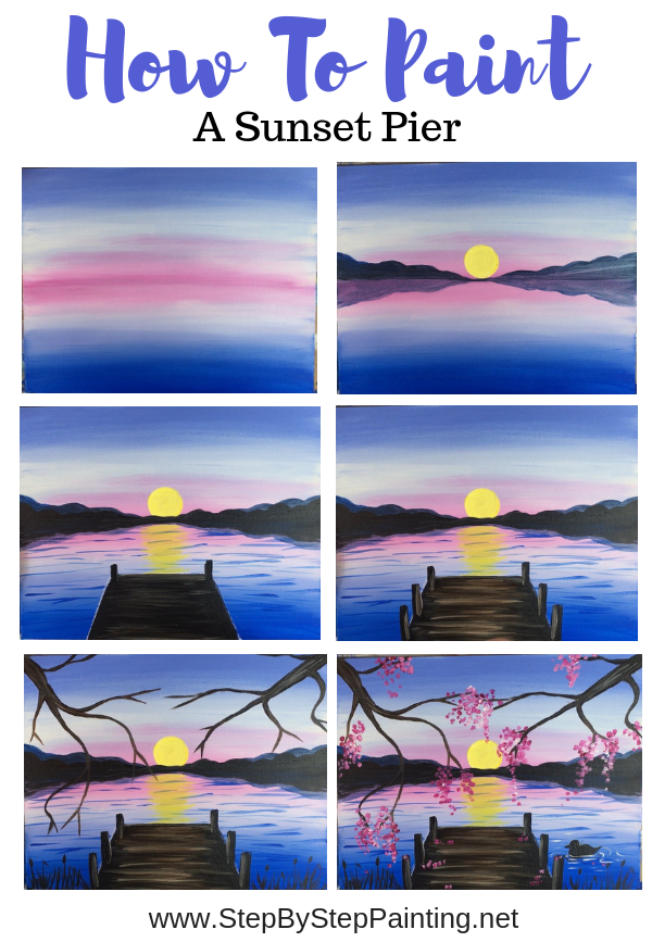 How To Paint A Sunset Lake Pier Sunset Painting Acrylic