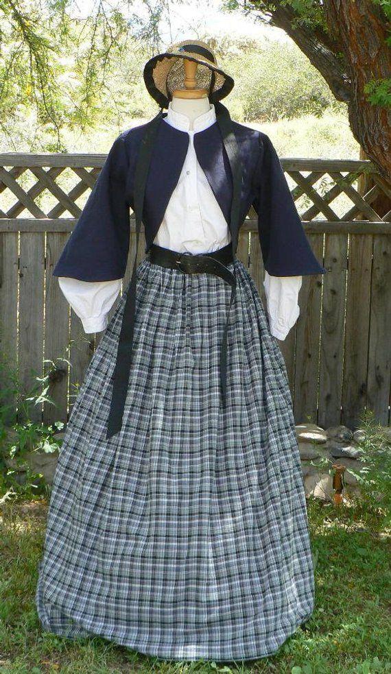 Civil War Zoave Jacket Victorian Bolero Historical Costume Homespun Plaid Rock 2 Piece Outfit #dressesfromthesouthernbelleera