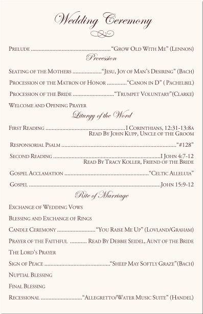 Catholic Wedding Programs