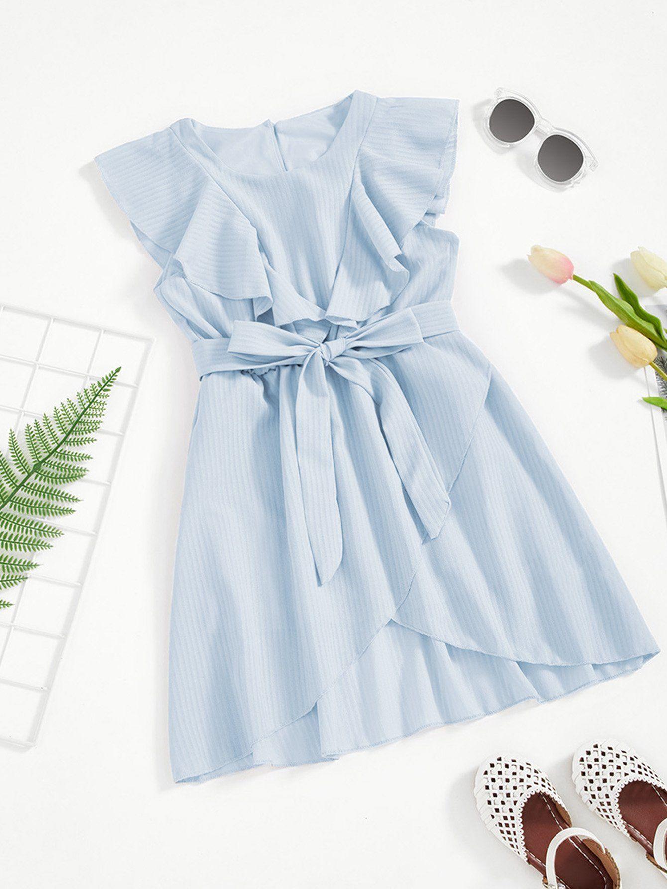 a9e9ab5bb5 Girls Flounce Trim Asymmetrical Wrap Hem Belted Dress | Products ...