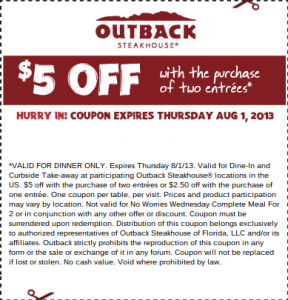picture regarding Outback Coupons $10 Off Printable known as Pin upon Outback Steakhouse Discount codes