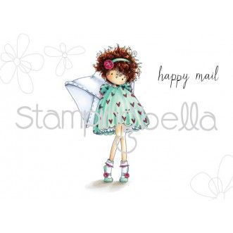 Stamping Bella - Tiny Townie Lacey has a Letter rubber stamp set. Coordinating Cut it Out die set also available. Product image Copic coloured by Elaine Hughes - colouring video and Copic marker details available.