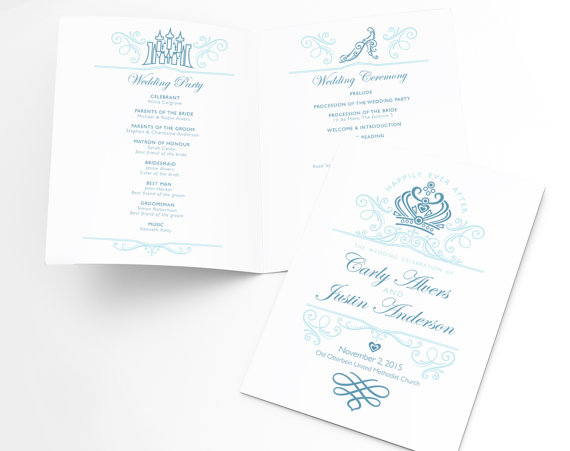 Disney Wedding Fairytale Ceremony Program Order Of Service Not A Template Completely Personalized Design W Unlimited Revisions