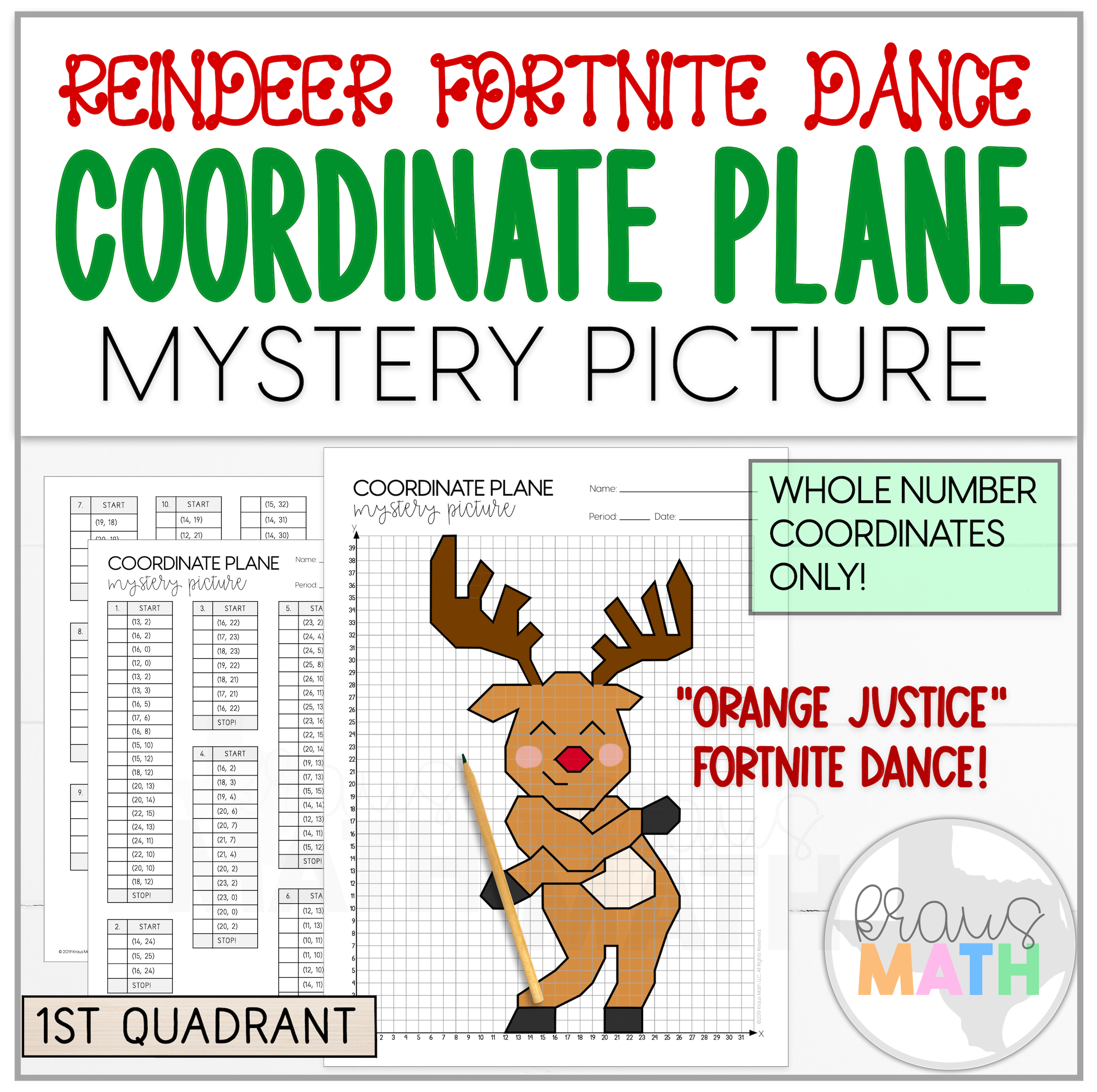 Reindeer Fortnite Orange Justice Dance Coordinate Plane