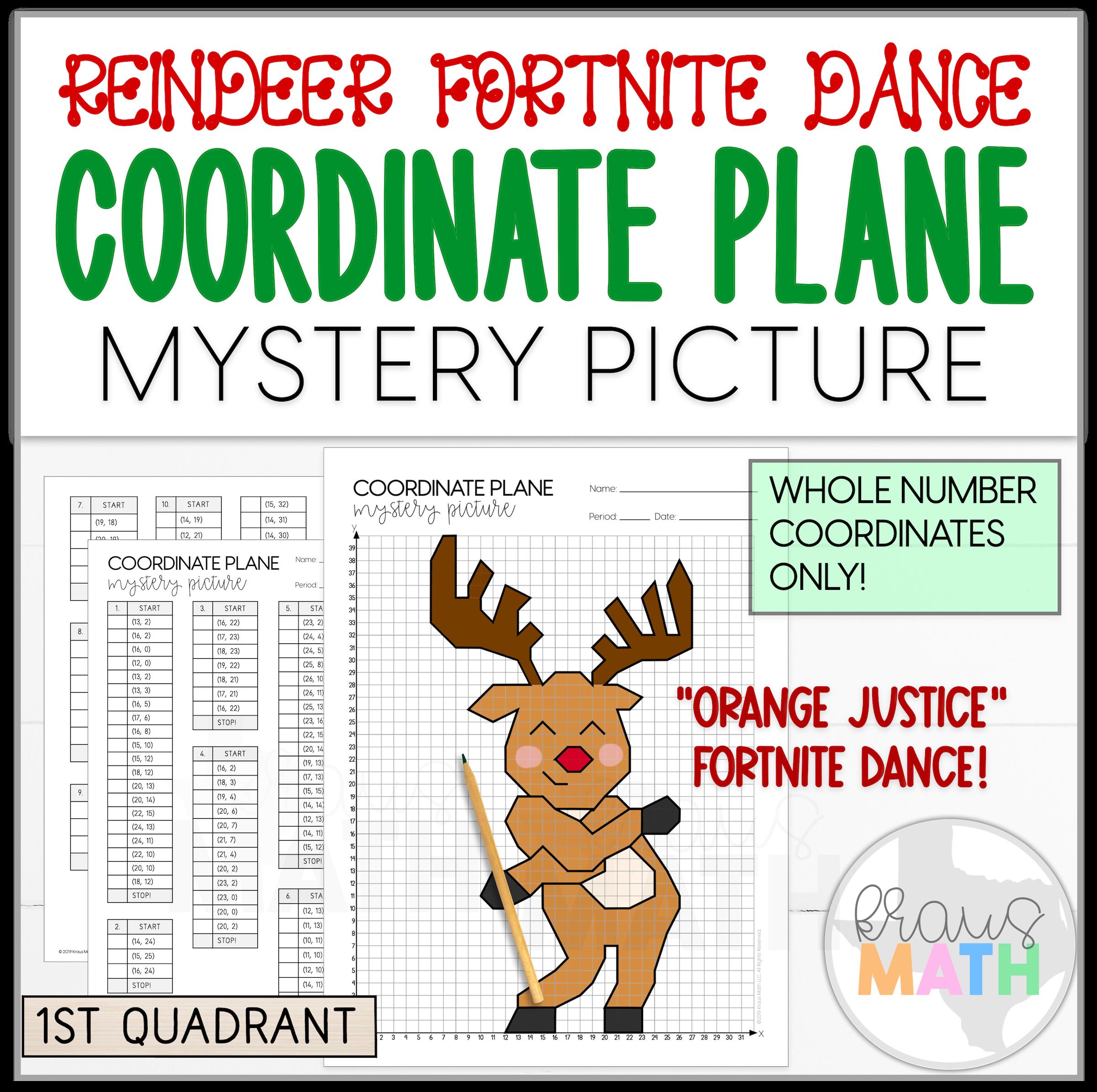 Reindeer Fortnite Orange Justice Dance Coordinate Plane