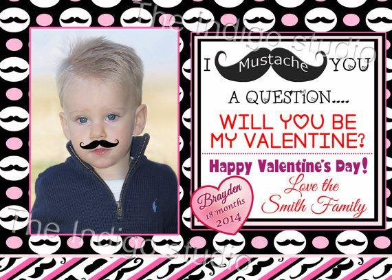Mustache Valentine's day  Photo Card   by TheIndigoStudio on Etsy, $10.00