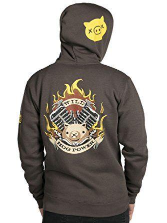 jinx overwatch ultimate roadhog zip up hoodie grey large