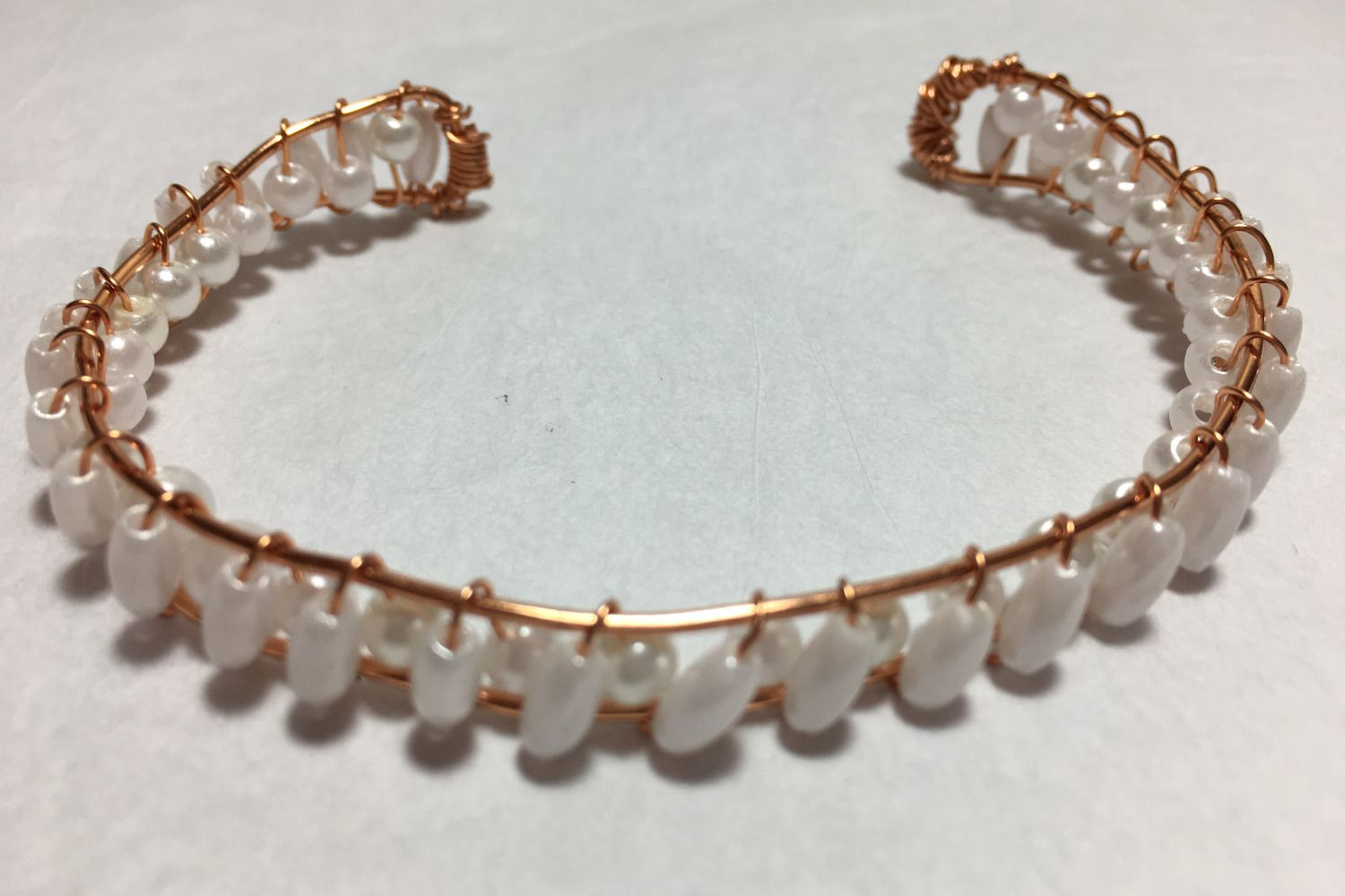 Copper Cuff Bracelet with Pearlescent Beads This elegant cuff ...