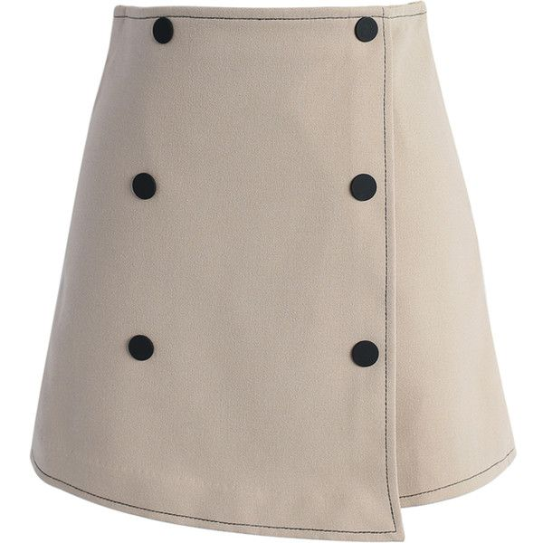 Chicwish Delight Energy Flap Skirt in Khaki ($36) ❤ liked on Polyvore featuring skirts, yellow, khaki knee length skirt, embellished skirt, button skirt, khaki skirt and brown skirt