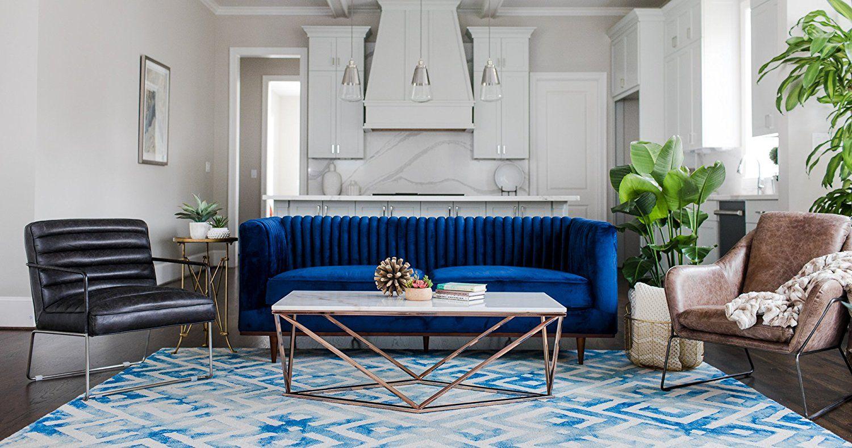 Best Amazon Com Foxley Blue Velvet Sofa Midcentury Modern 640 x 480