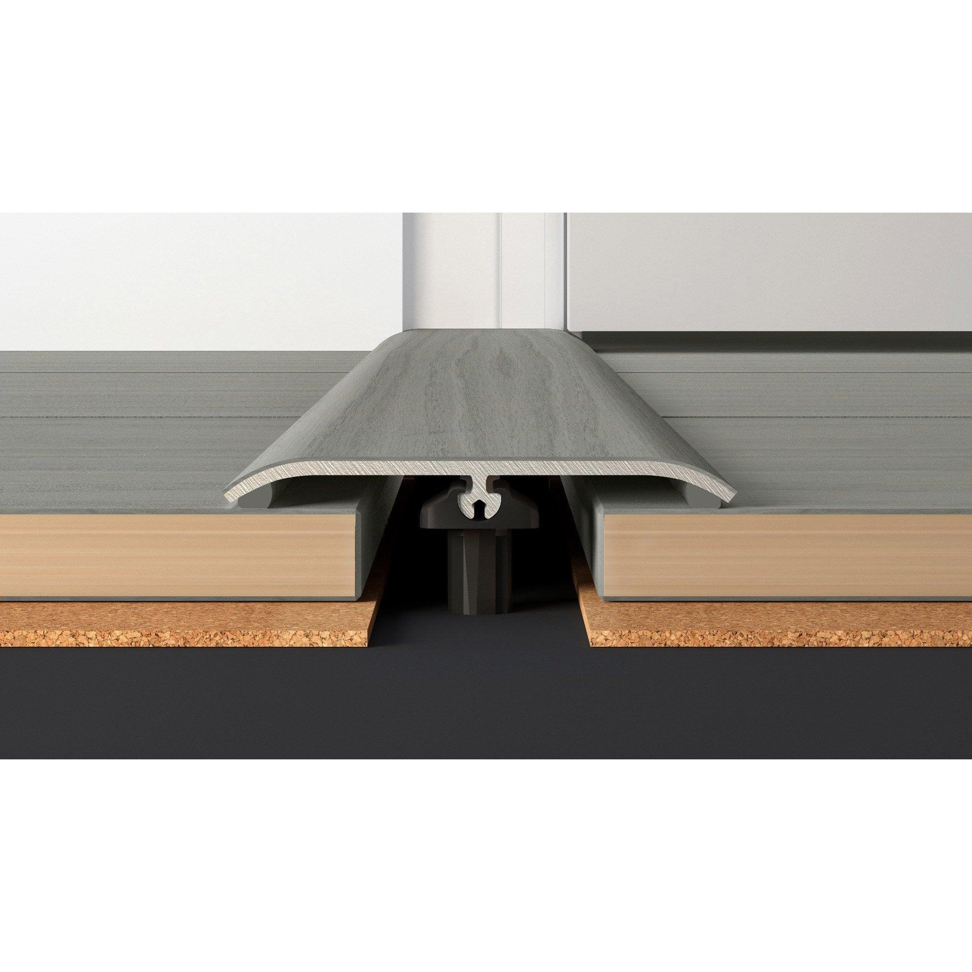 Barre De Seuil Parquet barre de seuil plaqué gris clair pour parquet, l.83 cm x l