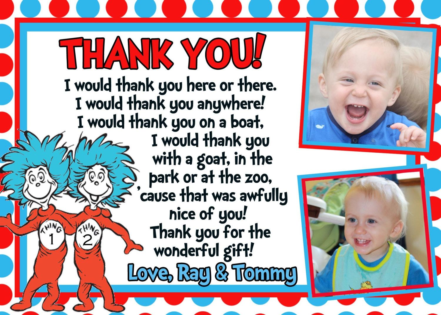 Dr Seuss Thank You card