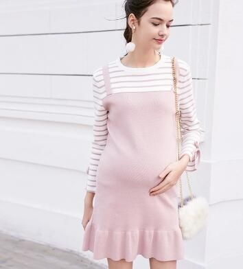 6417cc2969d3f Autumn Winter Maternity Dress knit Pink Dresses for Pregnant Women Pregnancy  Clothes Casual Pregnant Dress Maternity