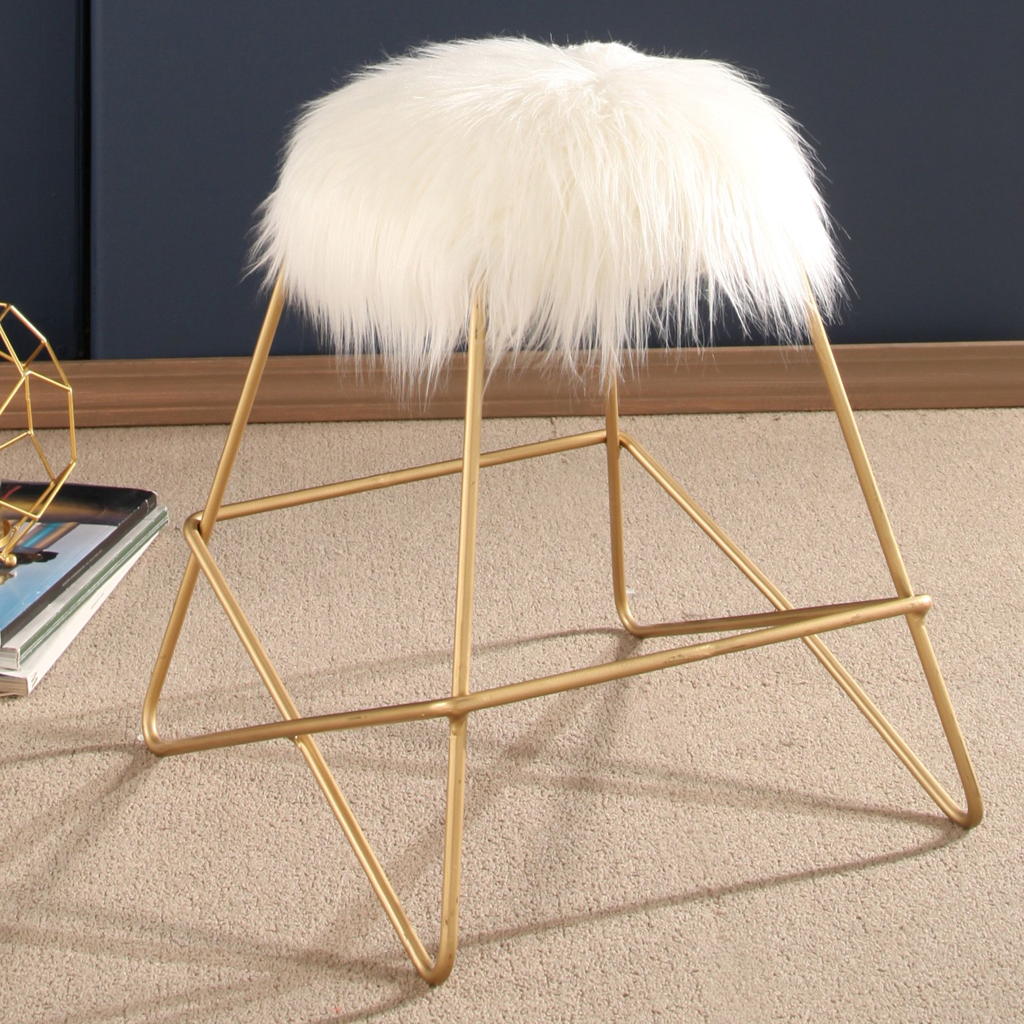 Lederman Faux Fur Vanity Stool Vanity stool, Stool, Fur