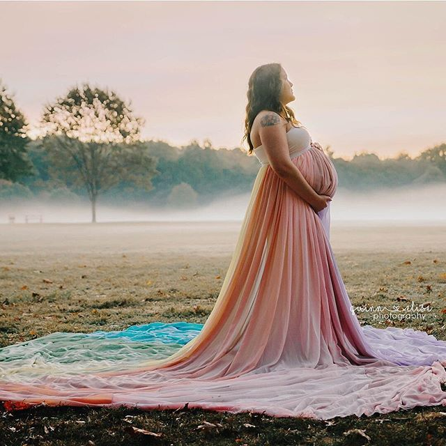 763a2123e7bb3 Beautiful Rainbow maternity gown by Chicaboo – Maternity Photography by Quinn  Elise Photography in Akron, OH
