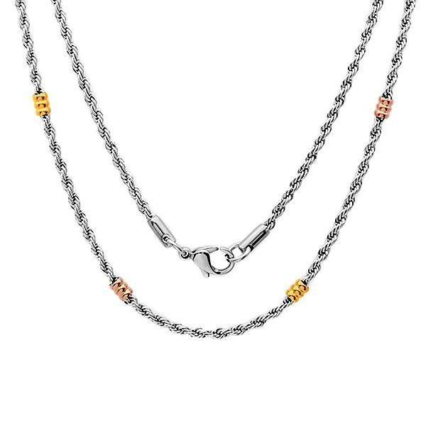 Stainless Steel Basic Rope Chain Necklace With Two Tone Charm Pendants
