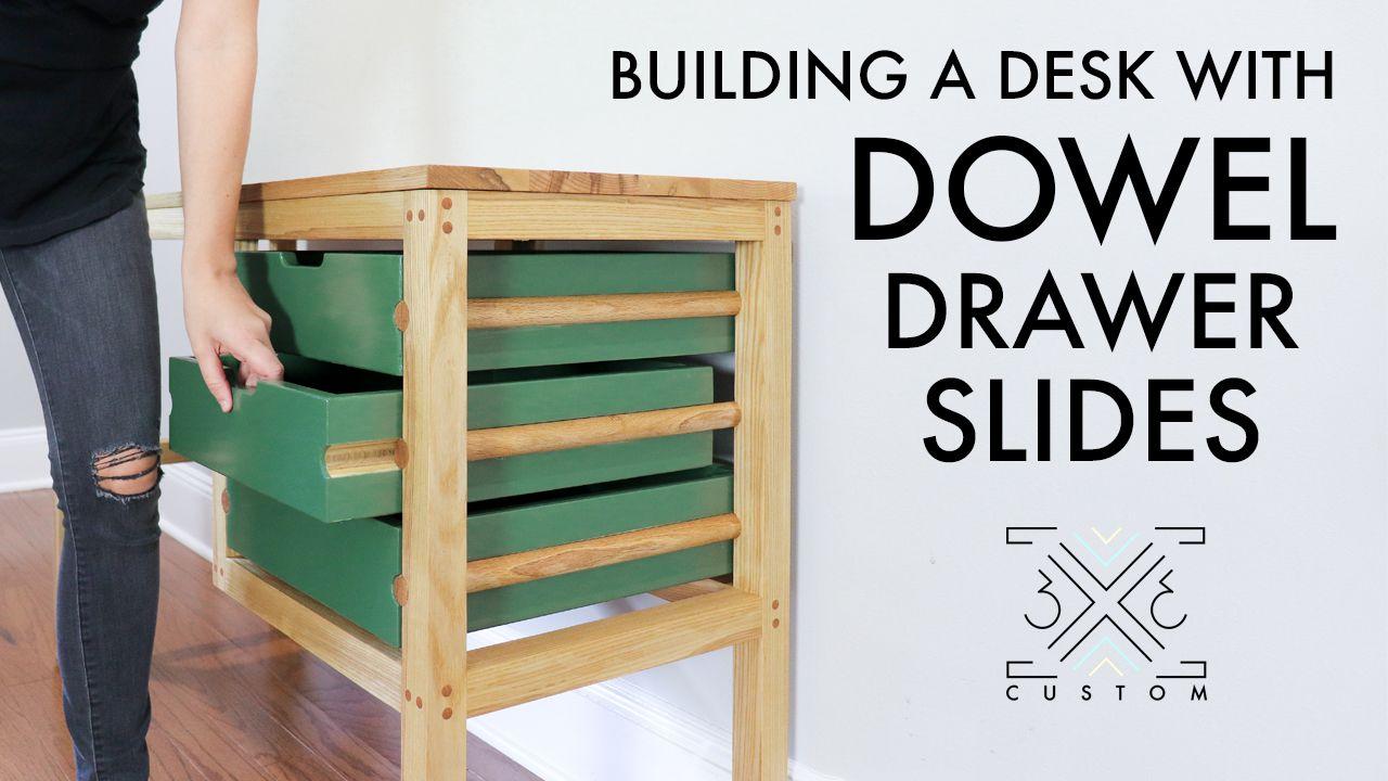 Building A Desk With Dowel Drawer Slides 3x3 Custom Drawer Slides Built In Desk Diy Drawers