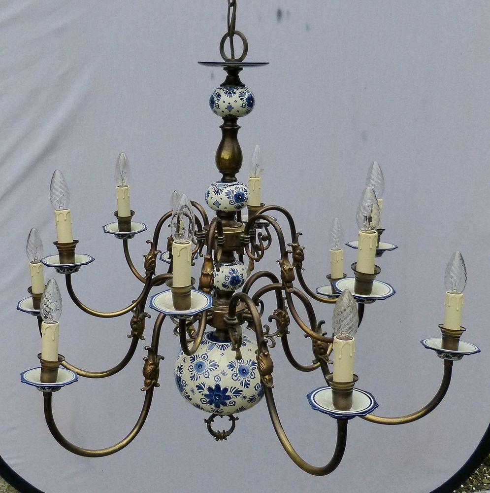 Very Large 12 Arm Vintage Dutch Flemish Chandelier With Delft Porcelain 1930 S Flemish Chandelier Chandelier Delft