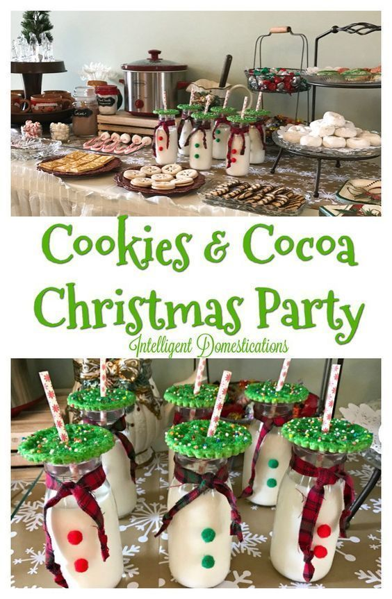 Christmas Party Ideas. How to host a Cookies & Cocoa Theme Party for Christmas. Christmas Party Ideas. #Christmasparty #Holidayparty #cookies #cocoa #party #partyideas #milkbottles #cookieparty